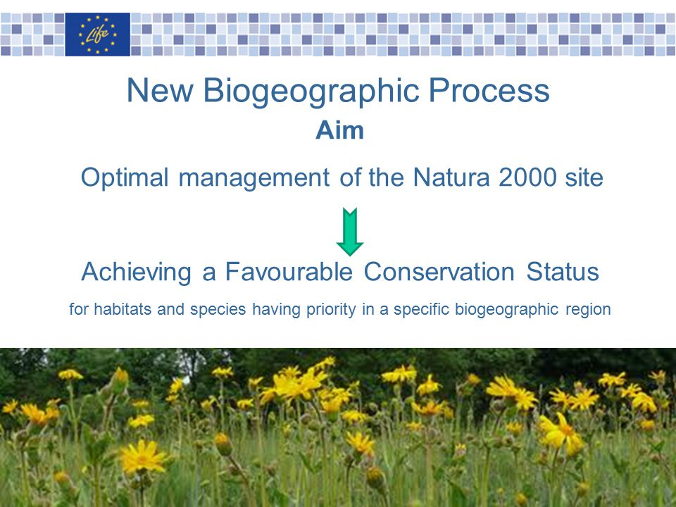 Slide n°16 Aim Optimal management of the Natura 2000 site Achieving a Favourable Conservation Status for habitats and species having priority in a specific biogeographic region New Biogeographic Process