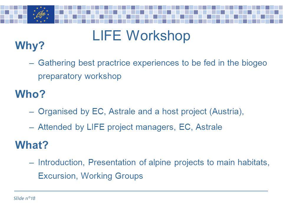 Slide n°18 LIFE Workshop Why.