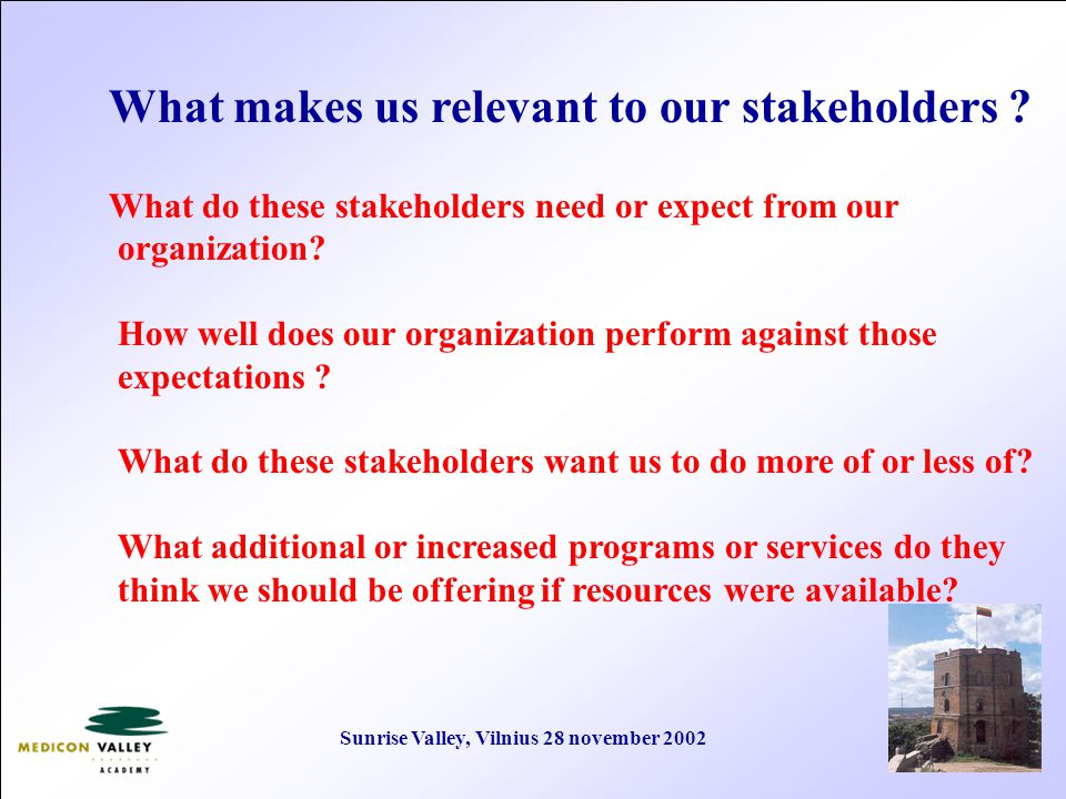 Sunrise Valley, Vilnius 28 november 2002 What makes us relevant to our stakeholders .
