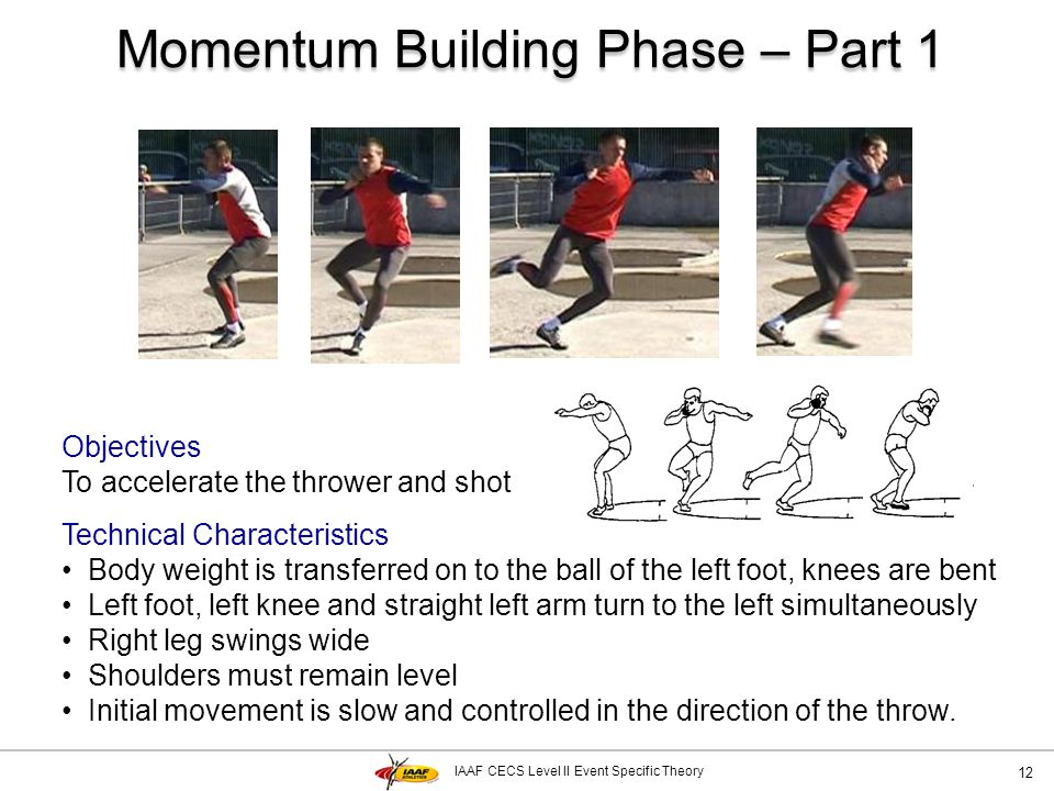 IAAF CECS Level II Event Specific Theory Momentum Building Phase – Part 1 12 Objectives To accelerate the thrower and shot Technical Characteristics B