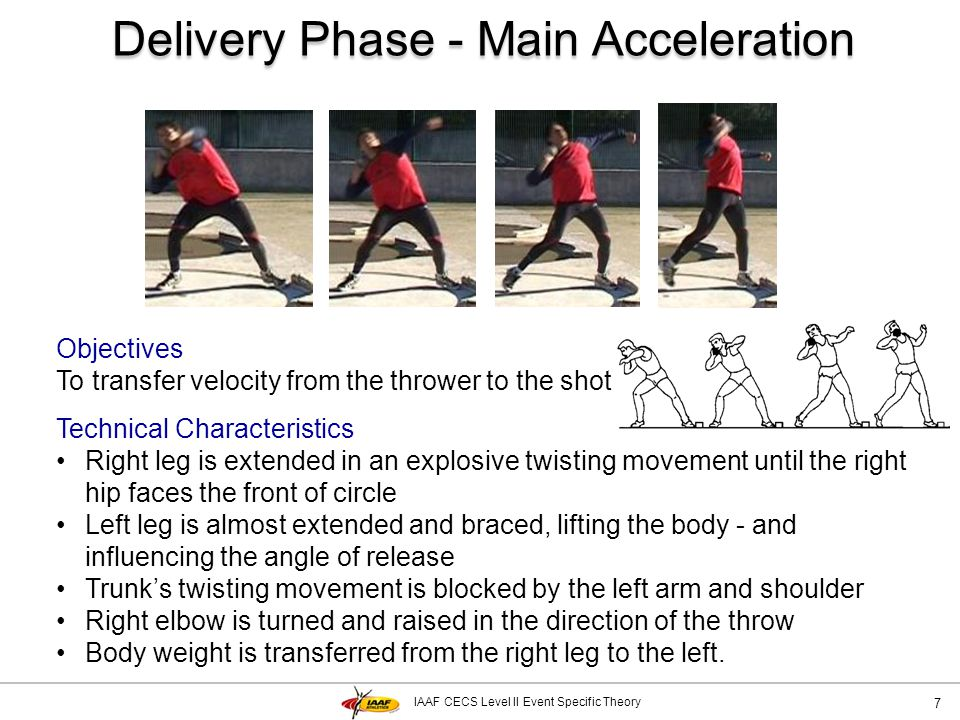 IAAF CECS Level II Event Specific Theory Delivery Phase - Main Acceleration 7 Objectives To transfer velocity from the thrower to the shot Technical C