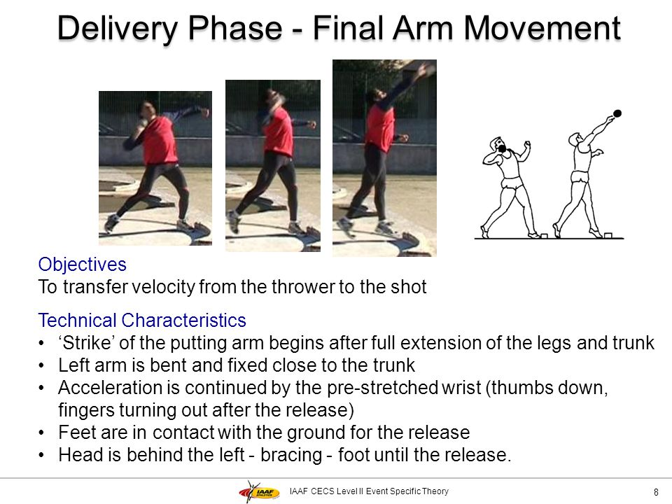 IAAF CECS Level II Event Specific Theory Delivery Phase - Final Arm Movement 8 Objectives To transfer velocity from the thrower to the shot Technical