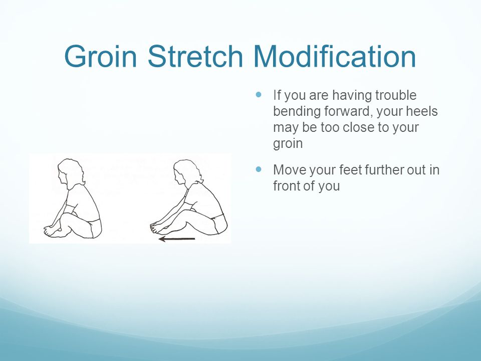 Groin Stretch Modification If you are having trouble bending forward, your heels may be too close to your groin Move your feet further out in front of