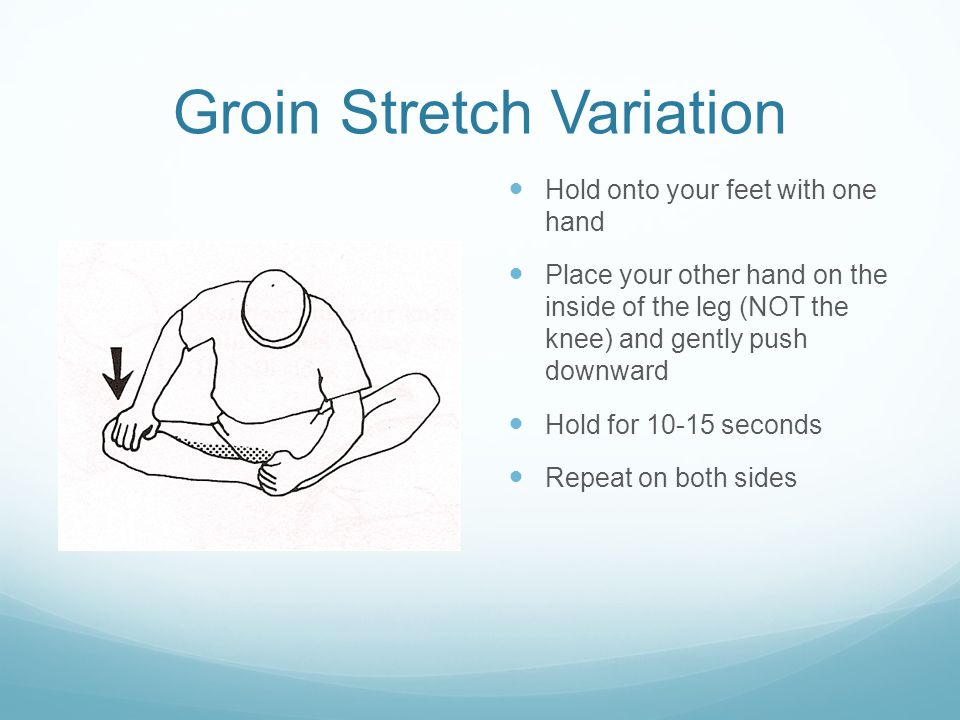Groin Stretch Variation Hold onto your feet with one hand Place your other hand on the inside of the leg (NOT the knee) and gently push downward Hold