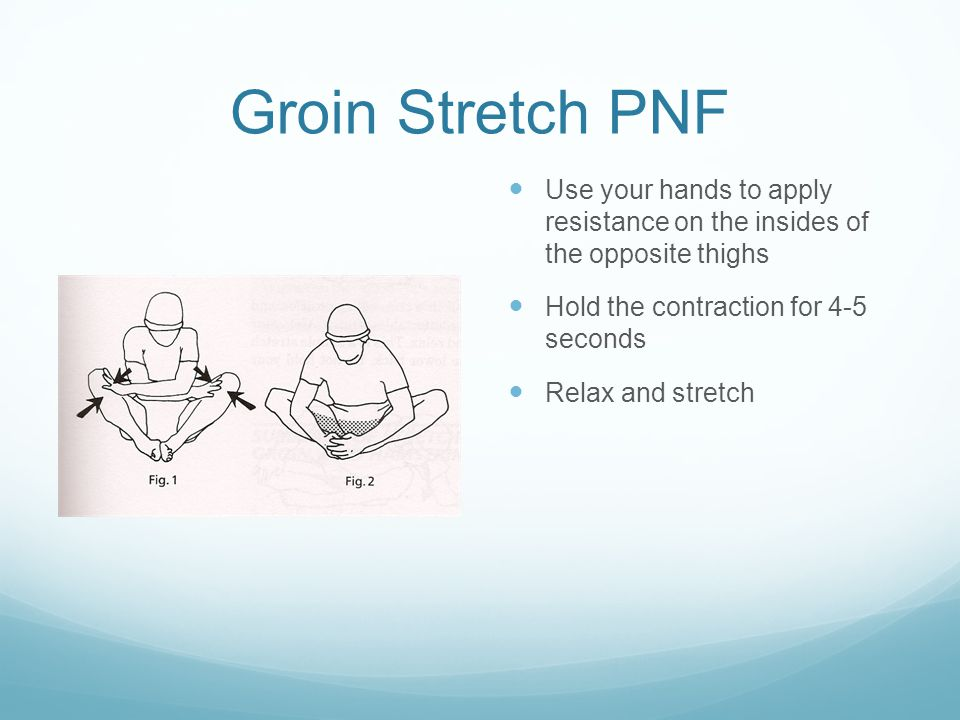 Groin Stretch PNF Use your hands to apply resistance on the insides of the opposite thighs Hold the contraction for 4-5 seconds Relax and stretch