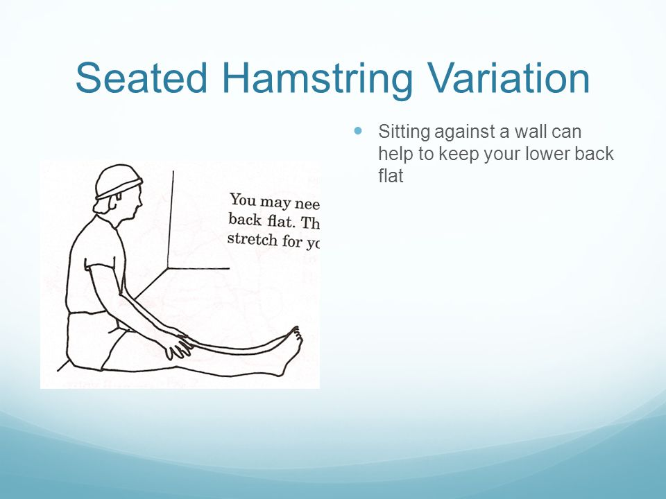 Seated Hamstring Variation Sitting against a wall can help to keep your lower back flat