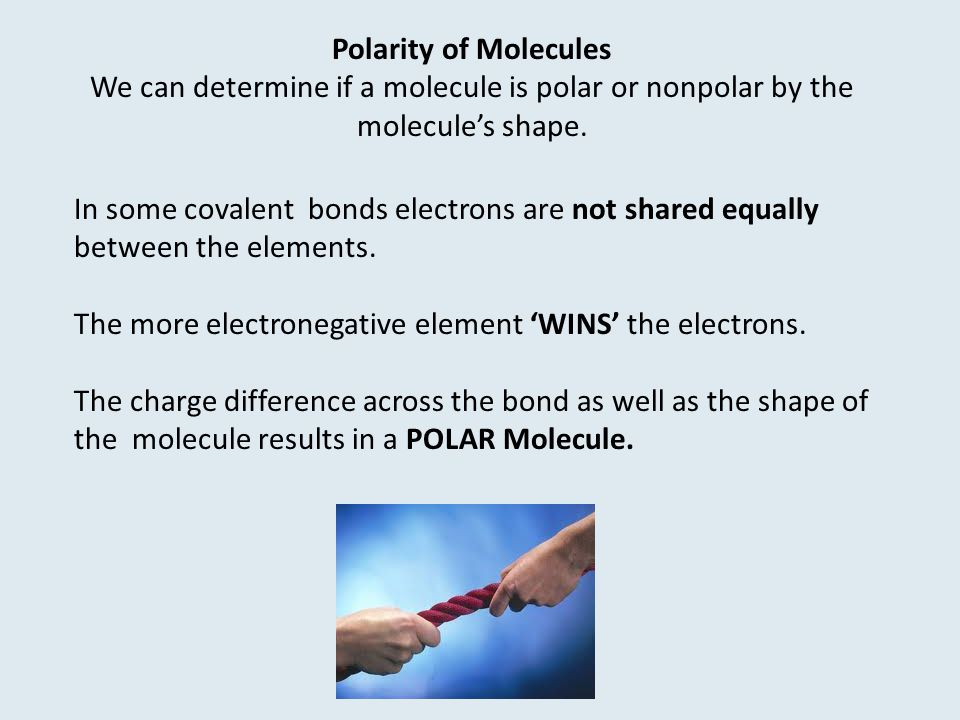 In some covalent bonds electrons are not shared equally between the elements.