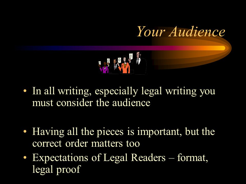 Burden of Legal Writing Writing for a hostile audience –Lawyers are skeptical –organization of your analysis matters Writing for busy audience –Lawyers are busy.
