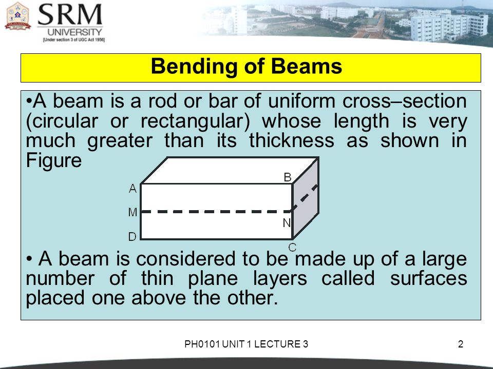 PH0101 UNIT 1 LECTURE 32 Bending of Beams A beam is a rod or bar of uniform cross–section (circular or rectangular) whose length is very much greater than its thickness as shown in Figure A beam is considered to be made up of a large number of thin plane layers called surfaces placed one above the other.