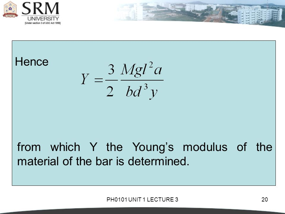 PH0101 UNIT 1 LECTURE 320 Hence from which Y the Young's modulus of the material of the bar is determined.