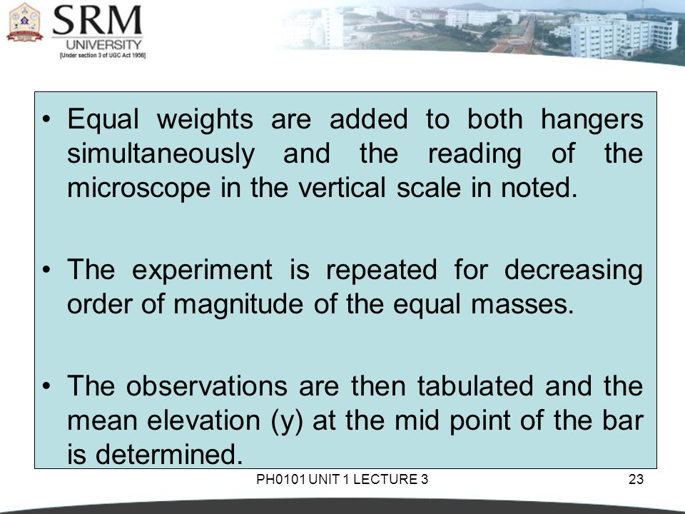 PH0101 UNIT 1 LECTURE 323 Equal weights are added to both hangers simultaneously and the reading of the microscope in the vertical scale in noted.