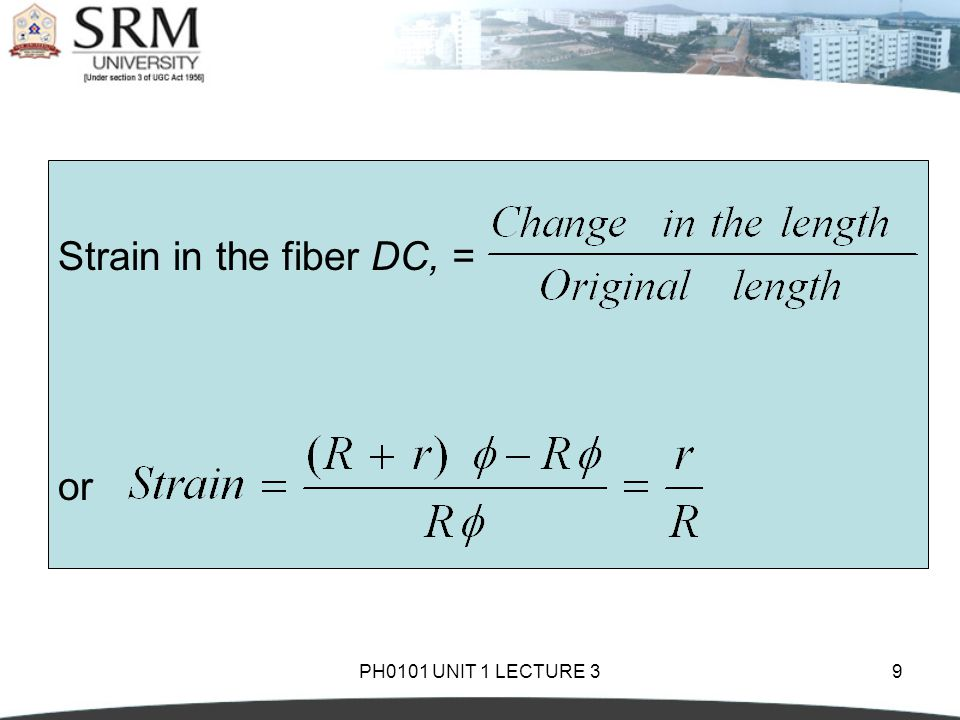PH0101 UNIT 1 LECTURE 39 Strain in the fiber DC, = or