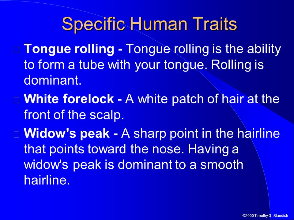 ©2000 Timothy G. Standish Tongue rolling - Tongue rolling is the ability to form a tube with your tongue. Rolling is dominant. White forelock - A whit