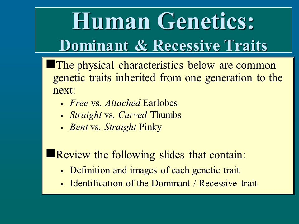 The physical characteristics below are common genetic traits inherited from one generation to the next: The physical characteristics below are common genetic traits inherited from one generation to the next:  Free vs.