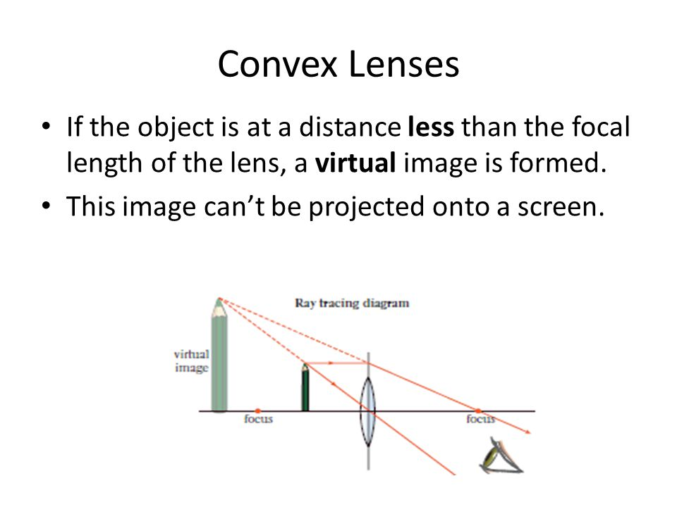Convex Lenses If the object is at a distance less than the focal length of the lens, a virtual image is formed. This image can't be projected onto a s