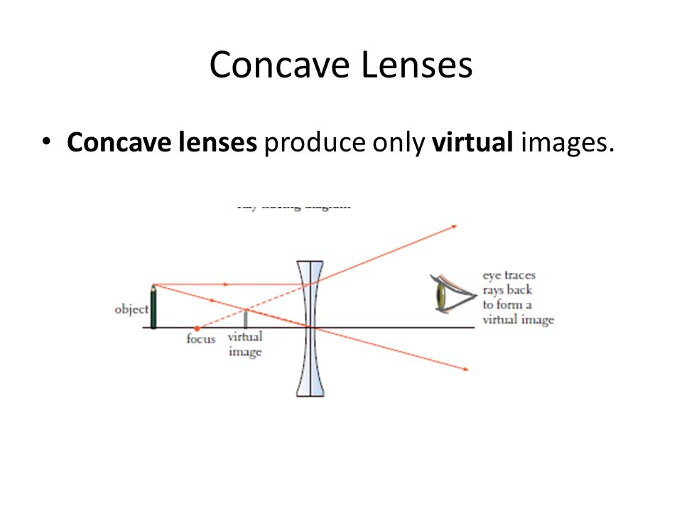 Concave Lenses Concave lenses produce only virtual images.