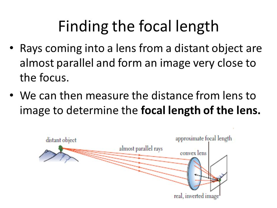 Finding the focal length Rays coming into a lens from a distant object are almost parallel and form an image very close to the focus.