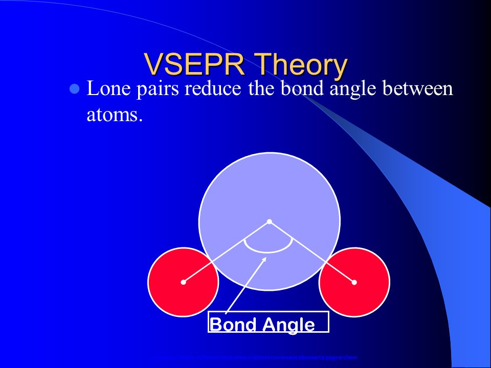 VSEPR Theory Lone pairs reduce the bond angle between atoms. Bond Angle Courtesy Christy Johannesson www.nisd.net/communicationsarts/pages/chem