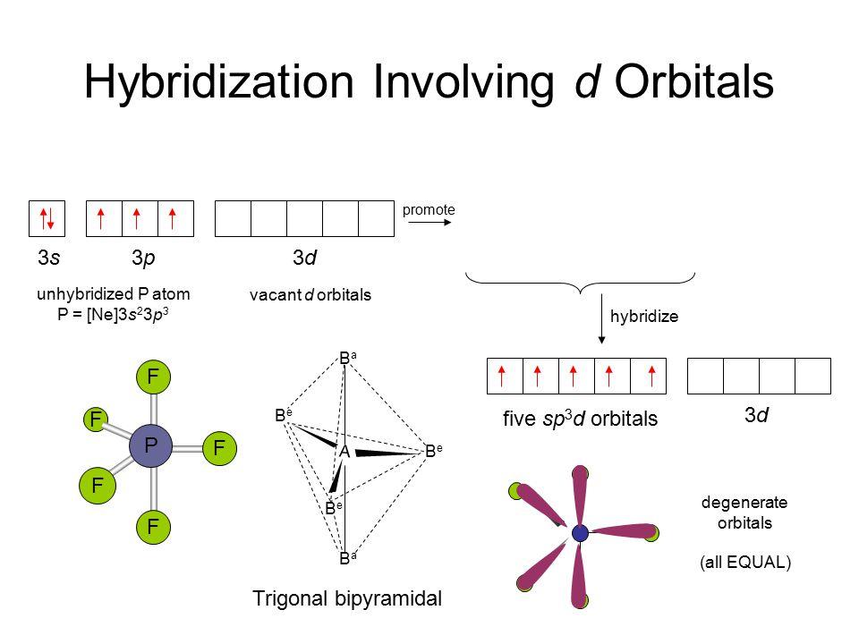 Hybridization Involving d Orbitals 3s 3p 3d promote five sp 3 d orbitals 3d3d F F F P F F A BeBe BeBe BeBe BaBa BaBa Trigonal bipyramidal hybridize degenerate orbitals (all EQUAL) unhybridized P atom P = [Ne]3s 2 3p 3 vacant d orbitals