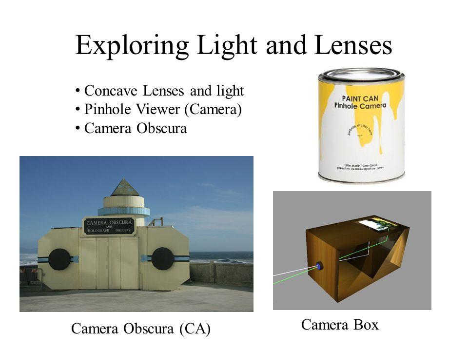 Exploring Light and Lenses Concave Lenses and light Pinhole Viewer (Camera) Camera Obscura Camera Box Camera Obscura (CA)