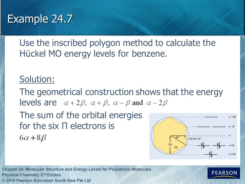 © 2010 Pearson Education South Asia Pte Ltd Physical Chemistry 2 nd Edition Chapter 24: Molecular Structure and Energy Levels for Polyatomic Molecules Example 24.7 Use the inscribed polygon method to calculate the Hückel MO energy levels for benzene.