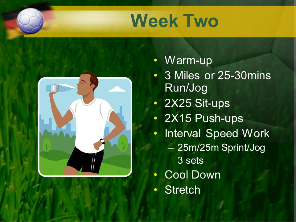 Week Two Warm-up 3 Miles or 25-30mins Run/Jog 2X25 Sit-ups 2X15 Push-ups Interval Speed Work –25m/25m Sprint/Jog 3 sets Cool Down Stretch