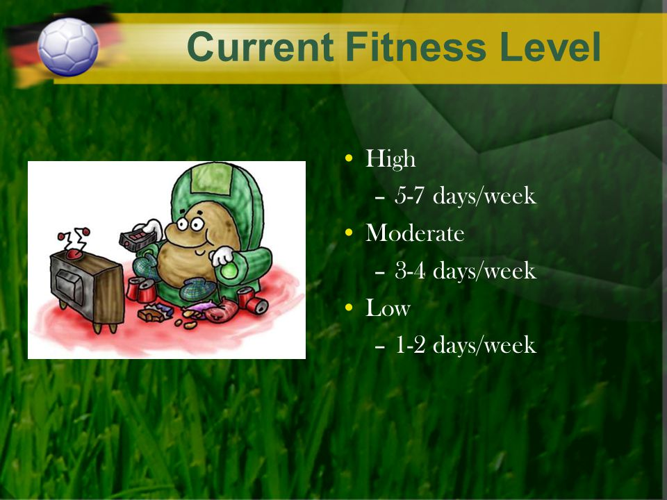 Current Fitness Level High –5-7 days/week Moderate –3-4 days/week Low –1-2 days/week