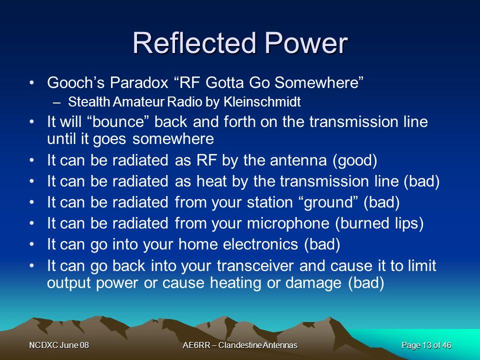 "NCDXC June 08AE6RR – Clandestine AntennasPage 13 of 46 Reflected Power Gooch's Paradox ""RF Gotta Go Somewhere"" –Stealth Amateur Radio by Kleinschmidt"