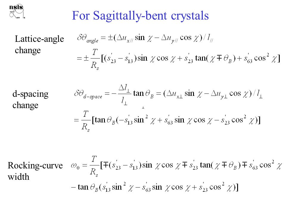 For Sagittally-bent crystals Lattice-angle change d-spacing change Rocking-curve width