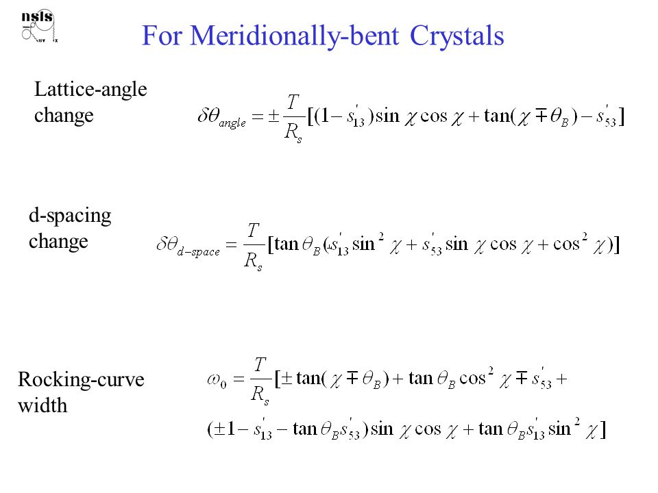 For Meridionally-bent Crystals Lattice-angle change d-spacing change Rocking-curve width