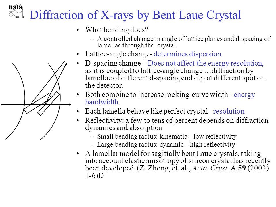 Sagittally-bent Laue crystal  : asymmetry angle R s : sagittal bending radius  B : Bragg angle Small footprint for high-E x-rays Rectangular rocking curve Wide Choice of , and crystal thickness, to control the energy-resolution Anticlastic-bending can be used to enable inverse- Cauchois geometry Side View Top view