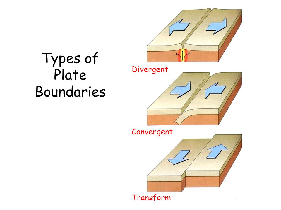 Divergent Convergent Transform Fault Plates move apart, resulting in upwelling of material from the Mantle to create new sea floor.