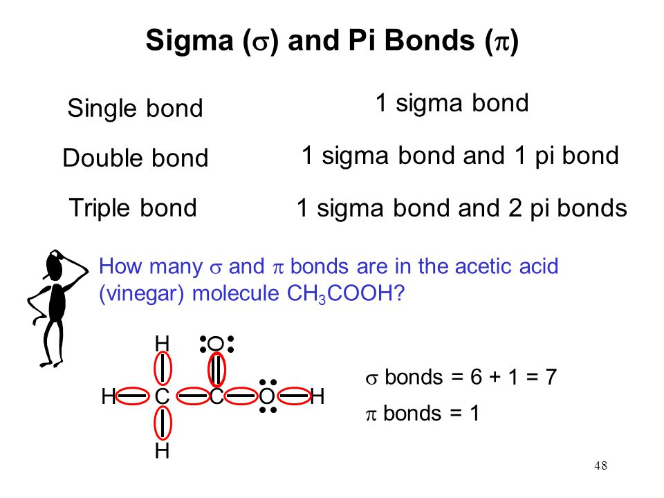 48 Sigma (  ) and Pi Bonds (  ) Single bond 1 sigma bond Double bond 1 sigma bond and 1 pi bond Triple bond 1 sigma bond and 2 pi bonds How many  and  bonds are in the acetic acid (vinegar) molecule CH 3 COOH.