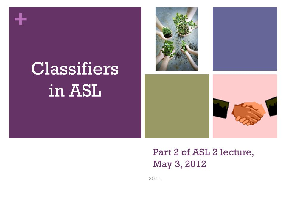 + Test Question: Which of the following English expressions use classifiers to sign in ASL.