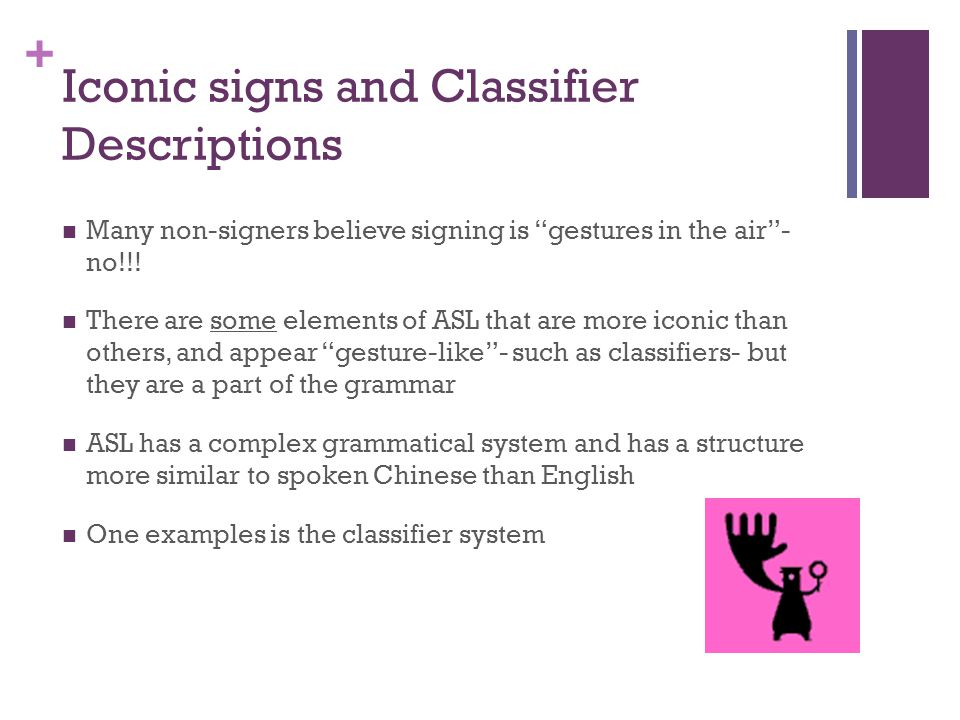 """+ Iconic signs and Classifier Descriptions Many non-signers believe signing is """"gestures in the air""""- no!!! There are some elements of ASL that are mo"""