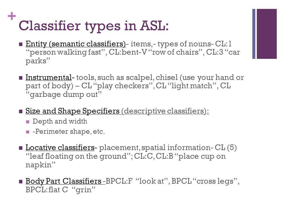 + Classifier Predicates- Examples: CL:F-small, round- e.g.