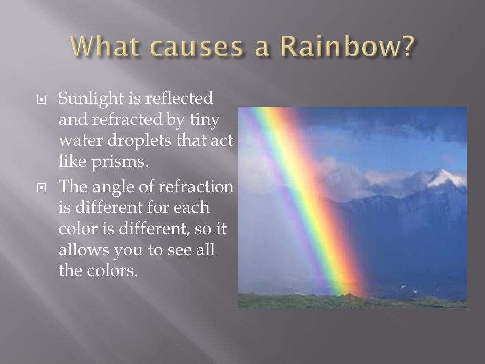  Sunlight is reflected and refracted by tiny water droplets that act like prisms.  The angle of refraction is different for each color is different,