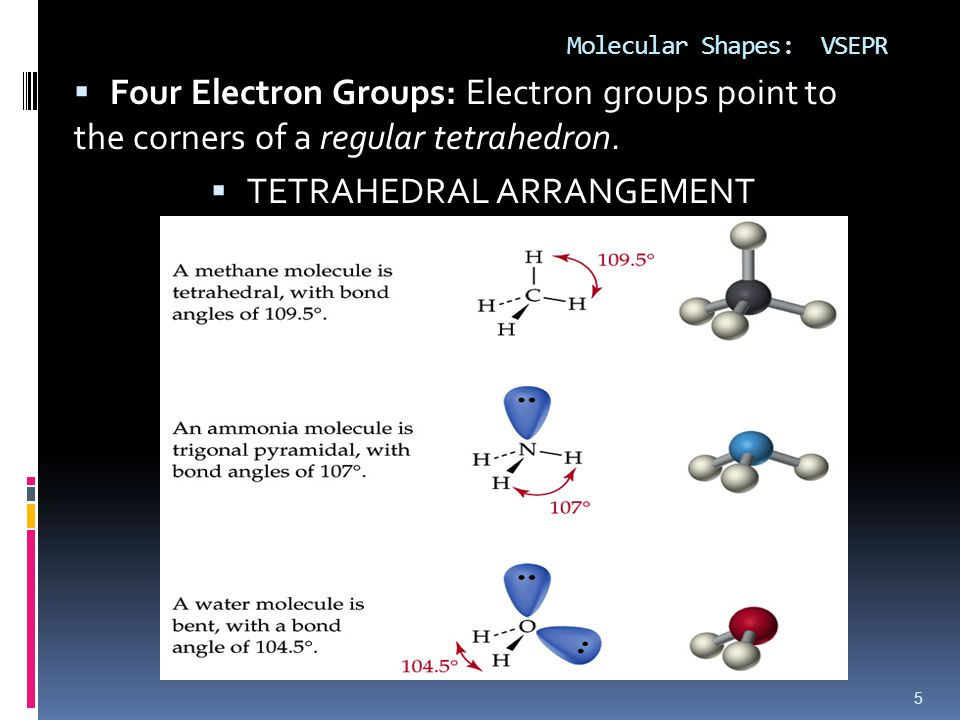 Molecular Shapes: VSEPR  Four Electron Groups: Electron groups point to the corners of a regular tetrahedron.