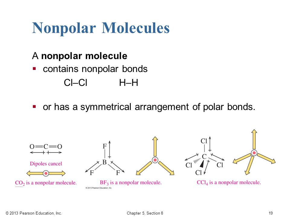 © 2013 Pearson Education, Inc. Chapter 5, Section 8 19 Nonpolar Molecules A nonpolar molecule  contains nonpolar bonds Cl–Cl H–H  or has a symmetric