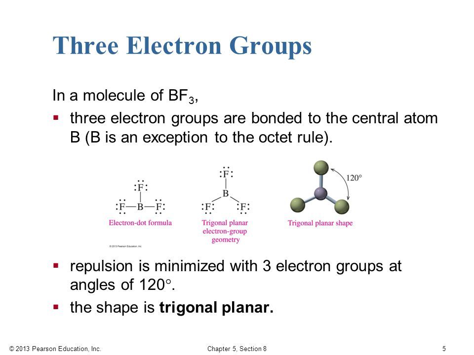 © 2013 Pearson Education, Inc. Chapter 5, Section 8 5 Three Electron Groups In a molecule of BF 3,  three electron groups are bonded to the central a