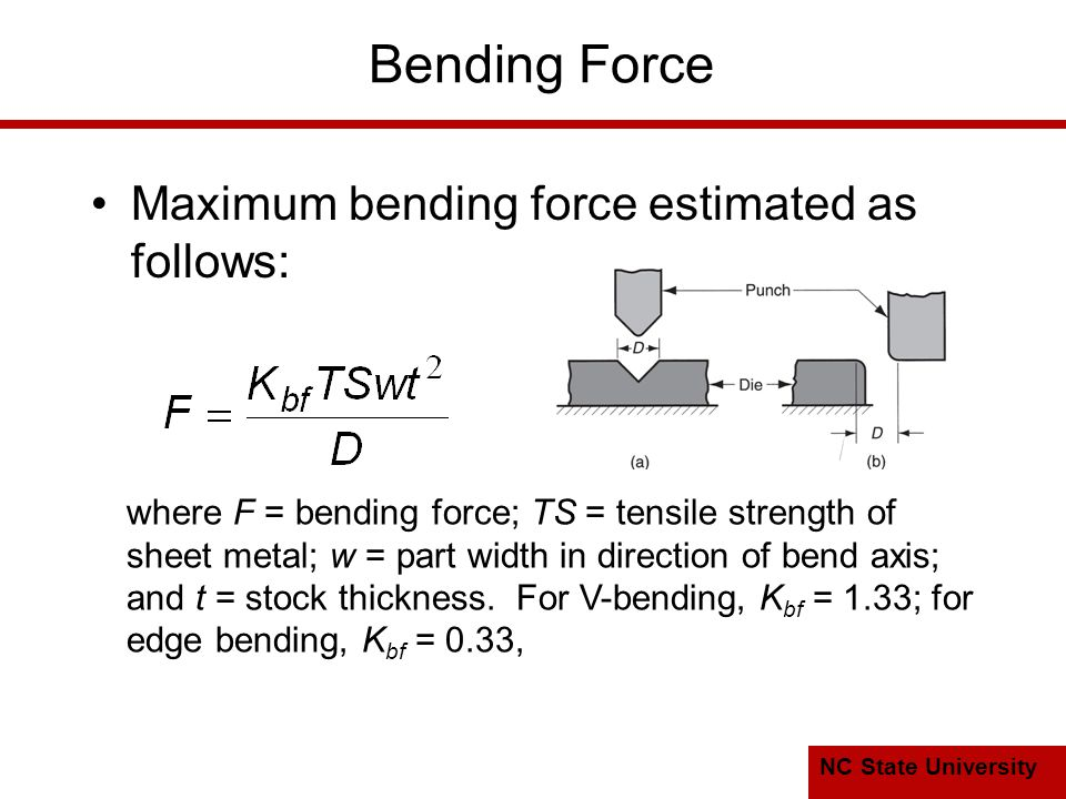 NC State University Bending Force Maximum bending force estimated as follows: where F = bending force; TS = tensile strength of sheet metal; w = part