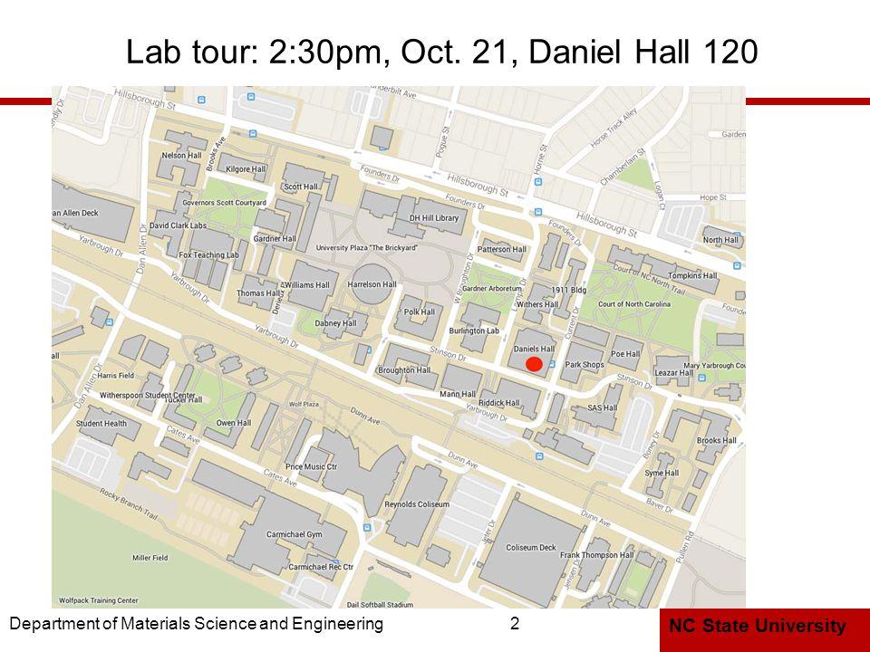 NC State University Lab tour: 2:30pm, Oct.