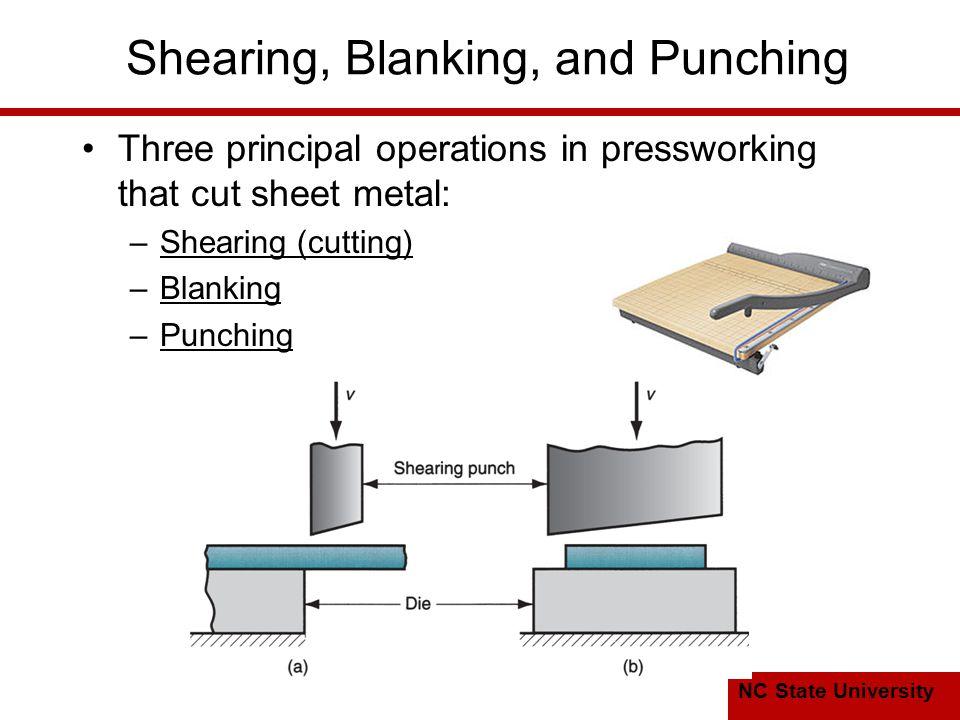 NC State University Shearing, Blanking, and Punching Three principal operations in pressworking that cut sheet metal: –Shearing (cutting) –Blanking –Punching