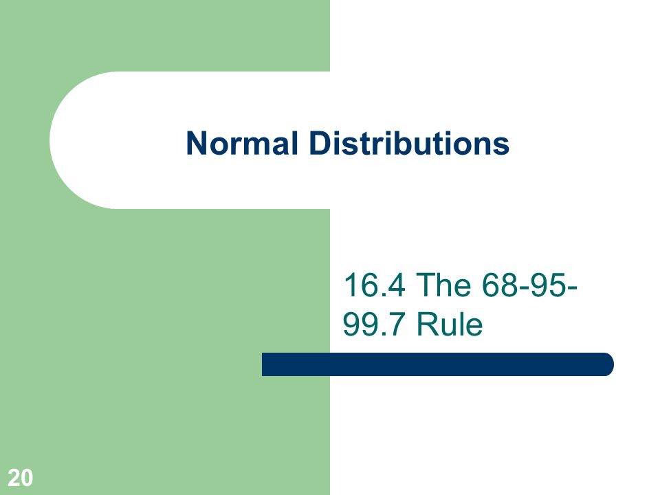 20 Normal Distributions 16.4 The 68-95- 99.7 Rule
