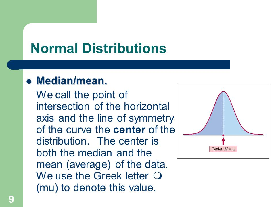 9 Normal Distributions Median/mean. Median/mean. We call the point of intersection of the horizontal axis and the line of symmetry of the curve the ce