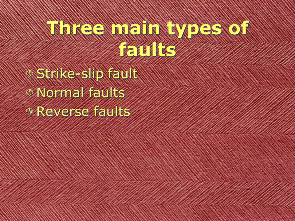 Kinds of Faults DP. 146 - Read first paragraph. DFault - a break in Earth's crust where slabs of crust slip past each other. They usually occur along