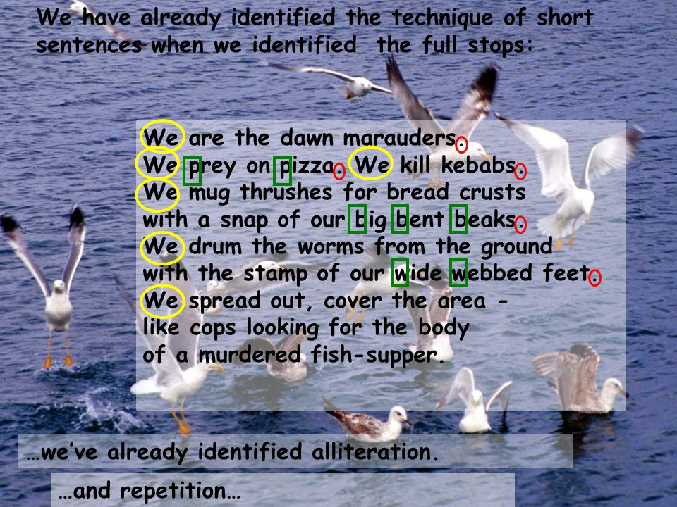We have already identified the technique of short sentences when we identified the full stops: We are the dawn marauders. We prey on pizza. We kill ke