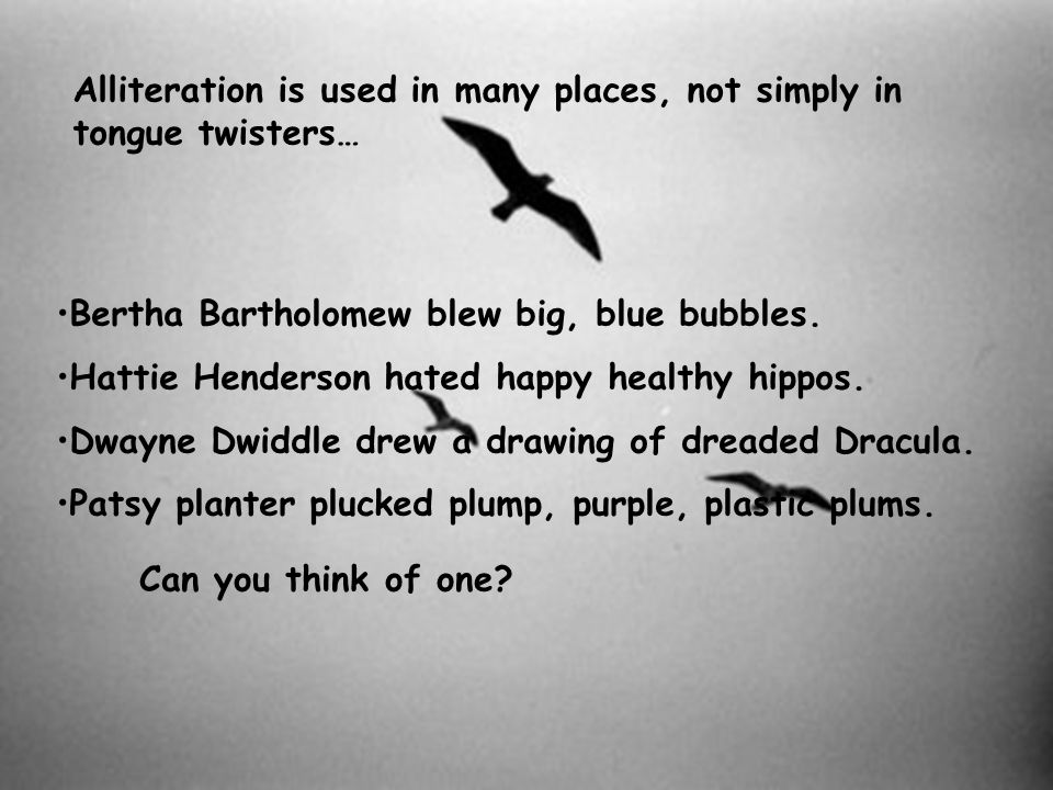 Alliteration is used in many places, not simply in tongue twisters… Bertha Bartholomew blew big, blue bubbles. Hattie Henderson hated happy healthy hi