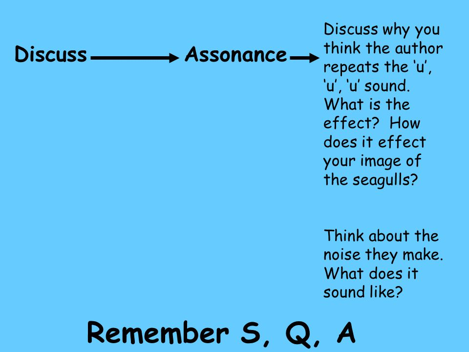 DiscussAssonance Discuss why you think the author repeats the 'u', 'u', 'u' sound. What is the effect? How does it effect your image of the seagulls?