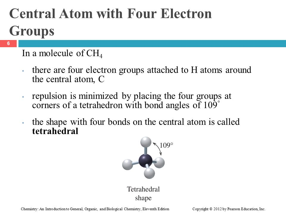 Central Atom with Four Electron Groups In a molecule of CH 4 there are four electron groups attached to H atoms around the central atom, C repulsion is minimized by placing the four groups at corners of a tetrahedron with bond angles of 109 ° the shape with four bonds on the central atom is called tetrahedral 6 Chemistry: An Introduction to General, Organic, and Biological Chemistry, Eleventh Edition Copyright © 2012 by Pearson Education, Inc.
